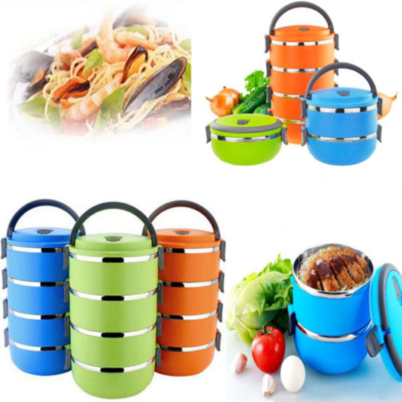 stainless steel thermal insulated lunch box bento food container handle 4 lay. Black Bedroom Furniture Sets. Home Design Ideas