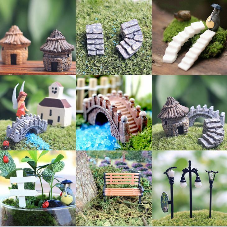 Fairy garden miniature stone house figurine craft micro landscape ornament decor ebay - Garden decor accessories ...