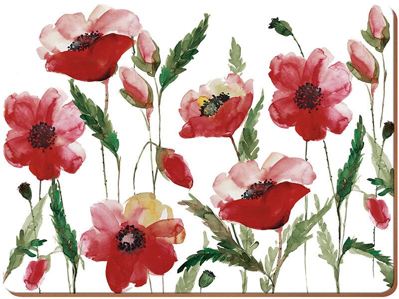 Set Of 6 WATERCOLOUR POPPY Premium Cork Backed PLACEMATS