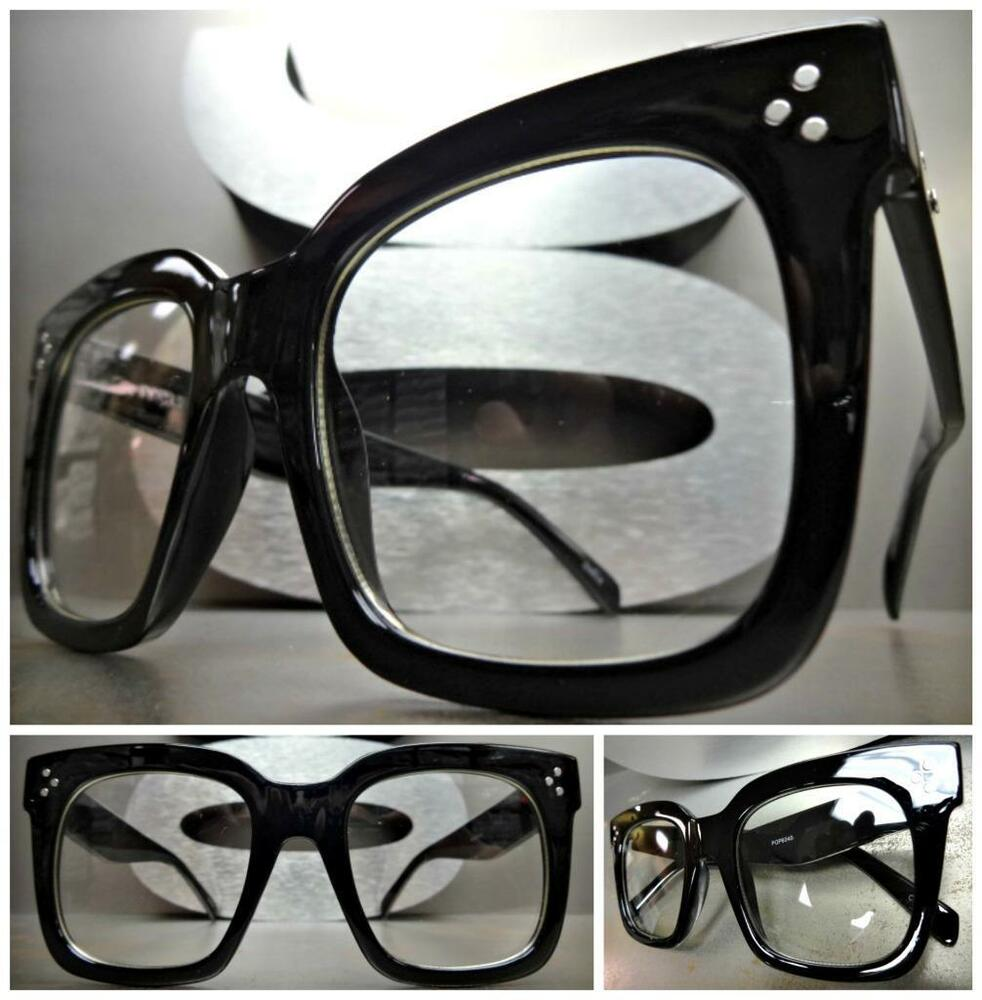 Big Black Frame Nerd Glasses : OVERSIZE VINTAGE RETRO NERD Style Clear Lens EYE GLASSES ...