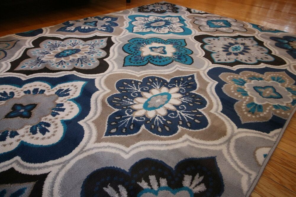 New 9x12 blue beige navy grey aqua teal modern floral for Dining room rugs 9x12