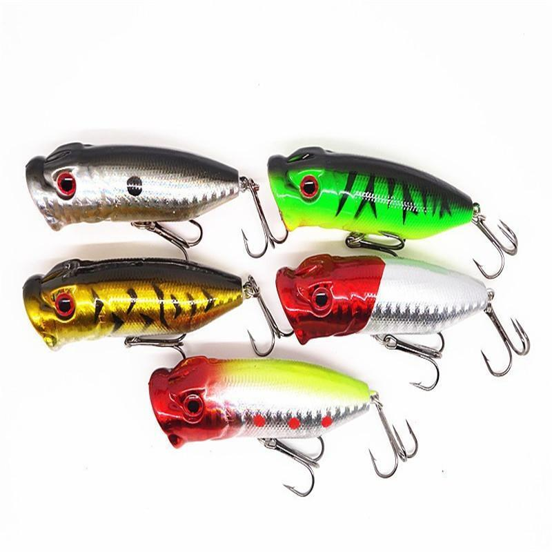 Topwater floating poppers laser fishing lures bass plastic for Bass fishing with plastic worms