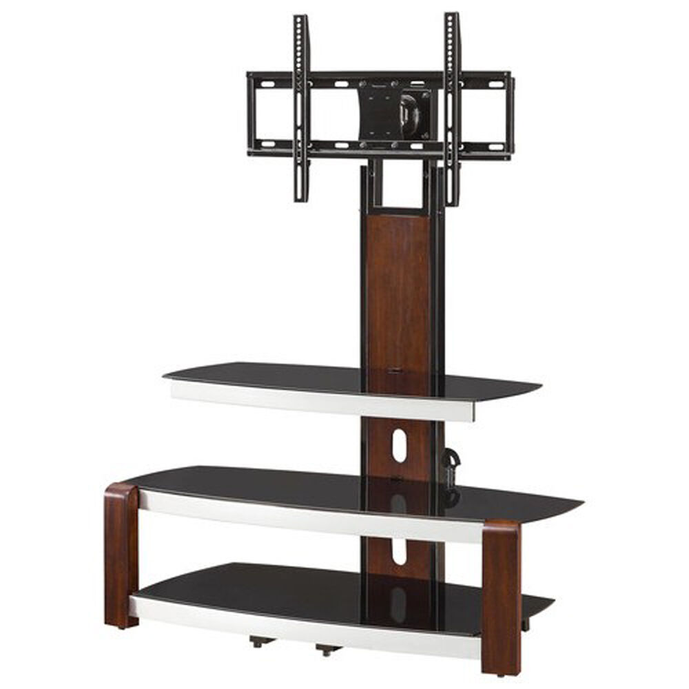 tv holder stand with swinging mount entertainment center storage glass top brown ebay. Black Bedroom Furniture Sets. Home Design Ideas