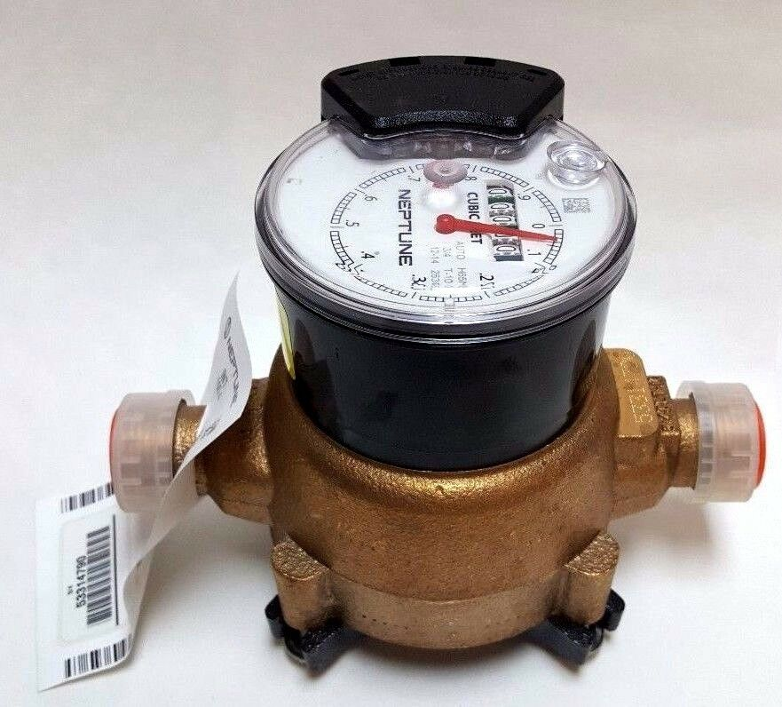 House Water Meter : Neptune t water meter quot lead free brass cubic foot