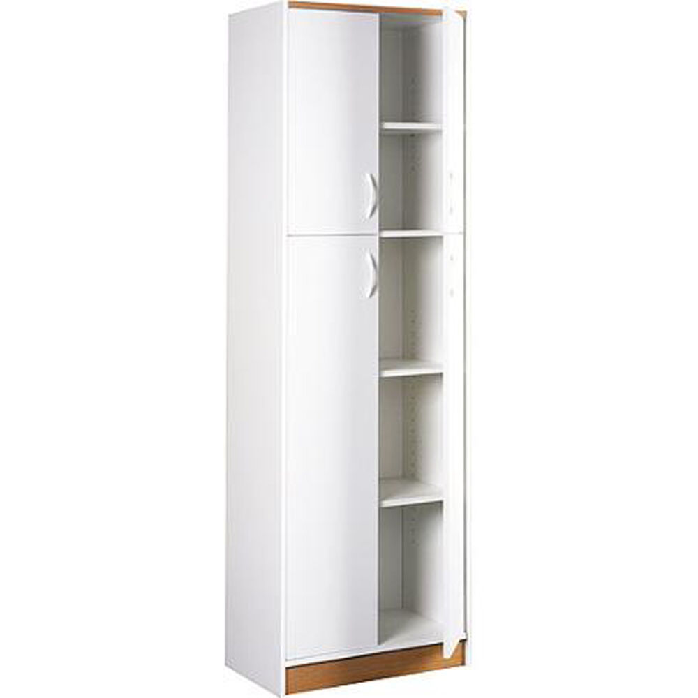 Kitchen Pantry Storage Cabinet White 4 Door Wood Organizer 5 Shelves Furniture Ebay