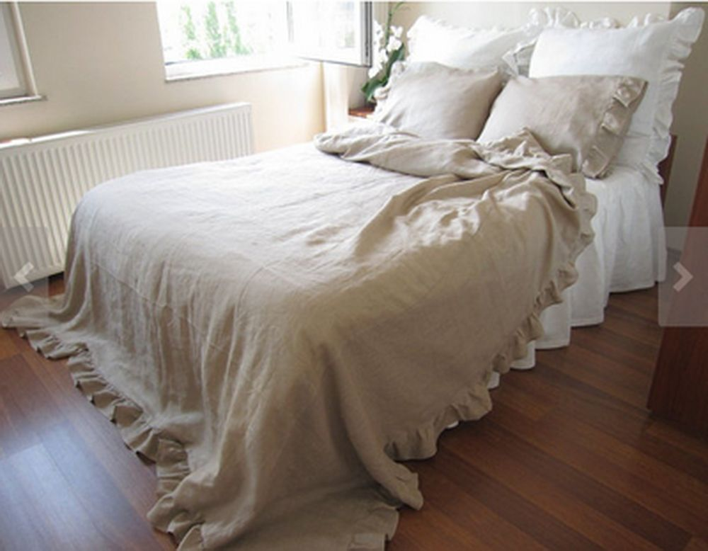 Shabby Chic Natural 100% Linen Bed Sheet Bed Skirt Ruffle