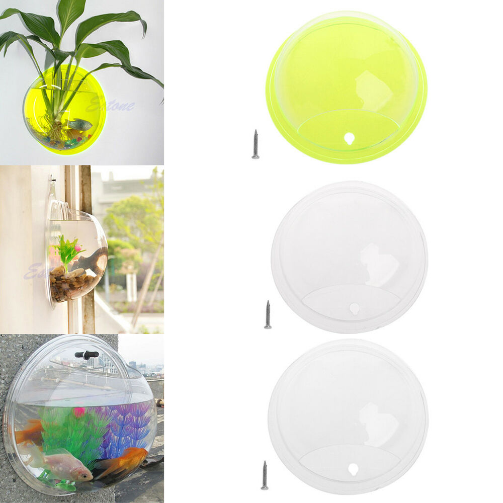 Pot plant wall mounted hanging bubble bowl fish tank for Aquarium for home decoration