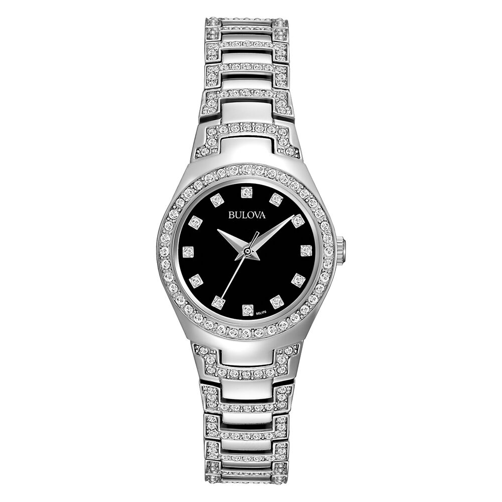 bulova women 39 s 96l170 swarovski crystals black dial watch ebay