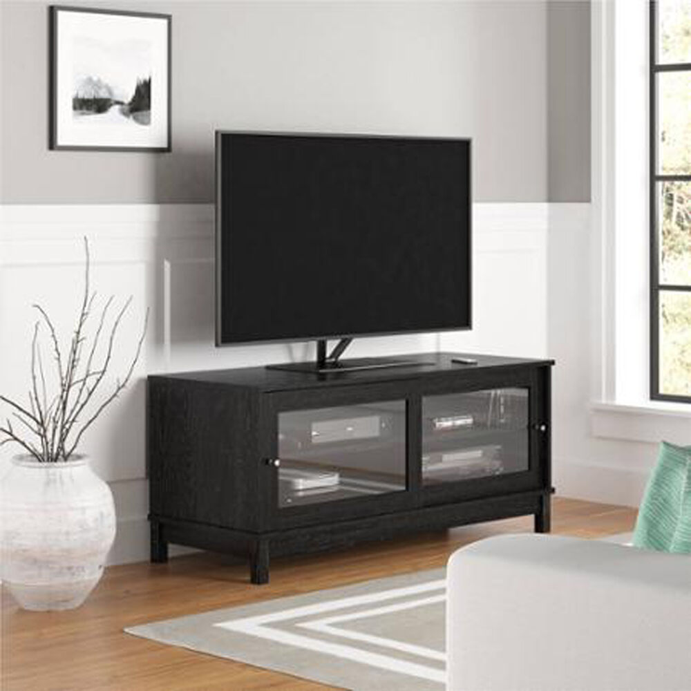 Wood TV Stand Black Holder Media Entertainment Center ...