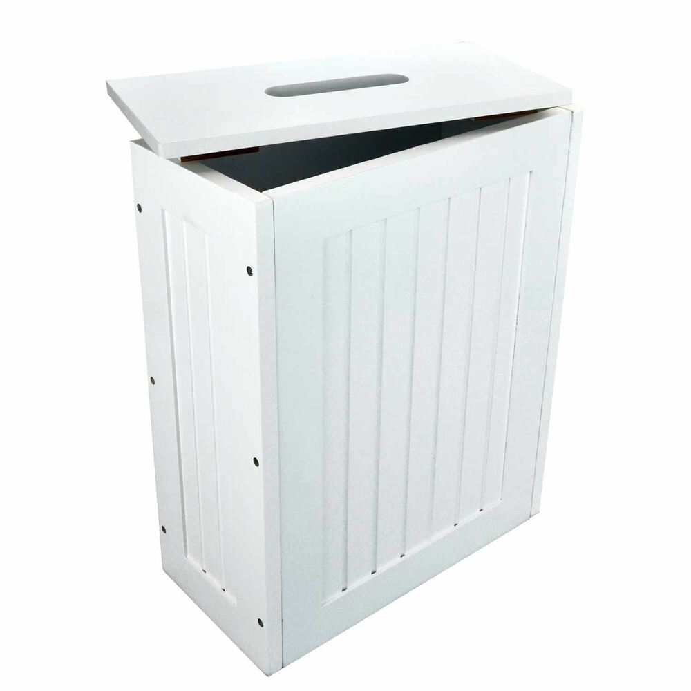 Bathroom Storage Cabinet Free Standing Organizer Box Cleaner Space White Wooden Ebay