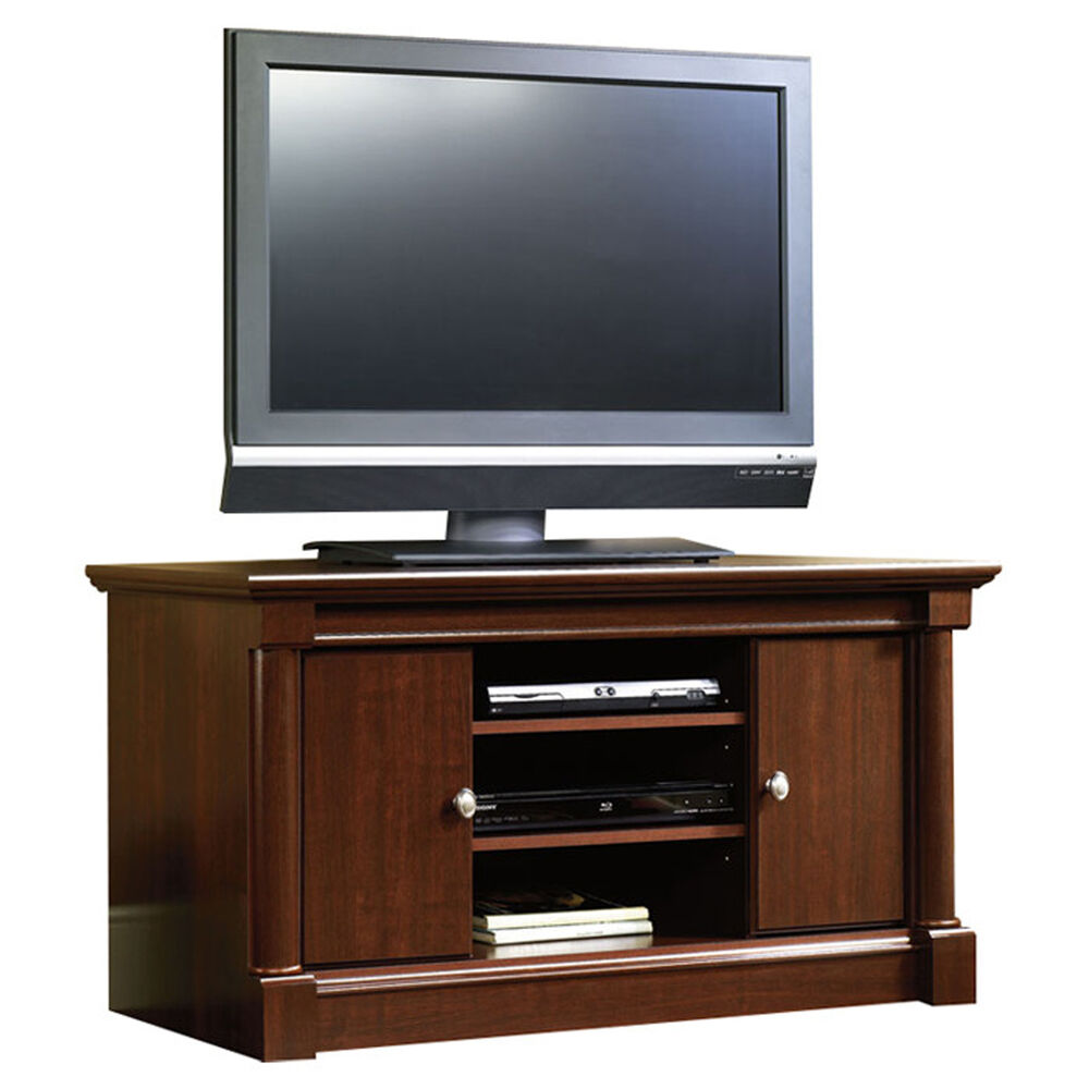 cherry wood tv stand entertainment center flat screen media console storage 47 39 39 ebay. Black Bedroom Furniture Sets. Home Design Ideas