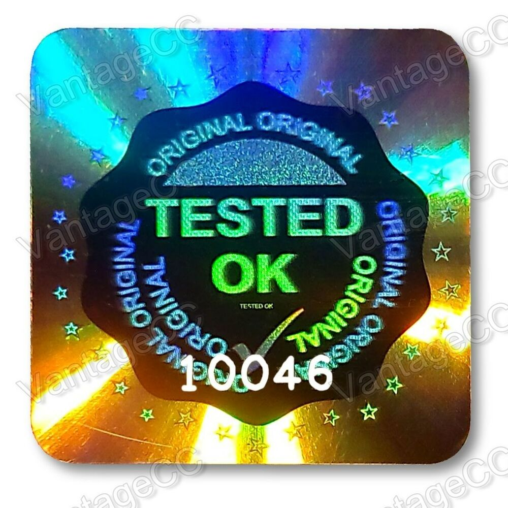 Large tested ok security hologram stickers labels 20mm square qc checked tick ebay