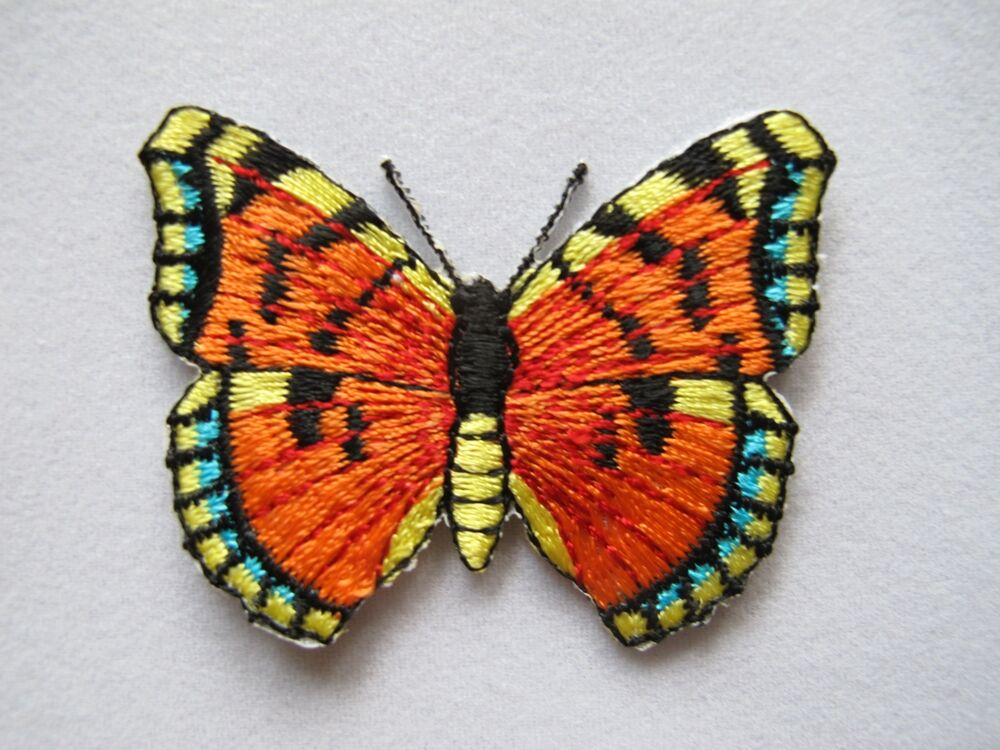 Blue yellow orange butterfly embroidery iron on