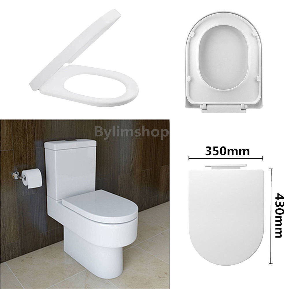 Luxury Soft Close Toilet Seat D Shape White Slow Closing With Top Fixing Hing