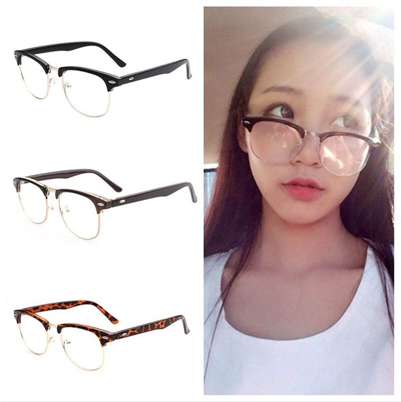 Vintage Retro Half Frame Clear Lens Glasses Nerd Geek Eyewear Eyeglasses Fashion Ebay