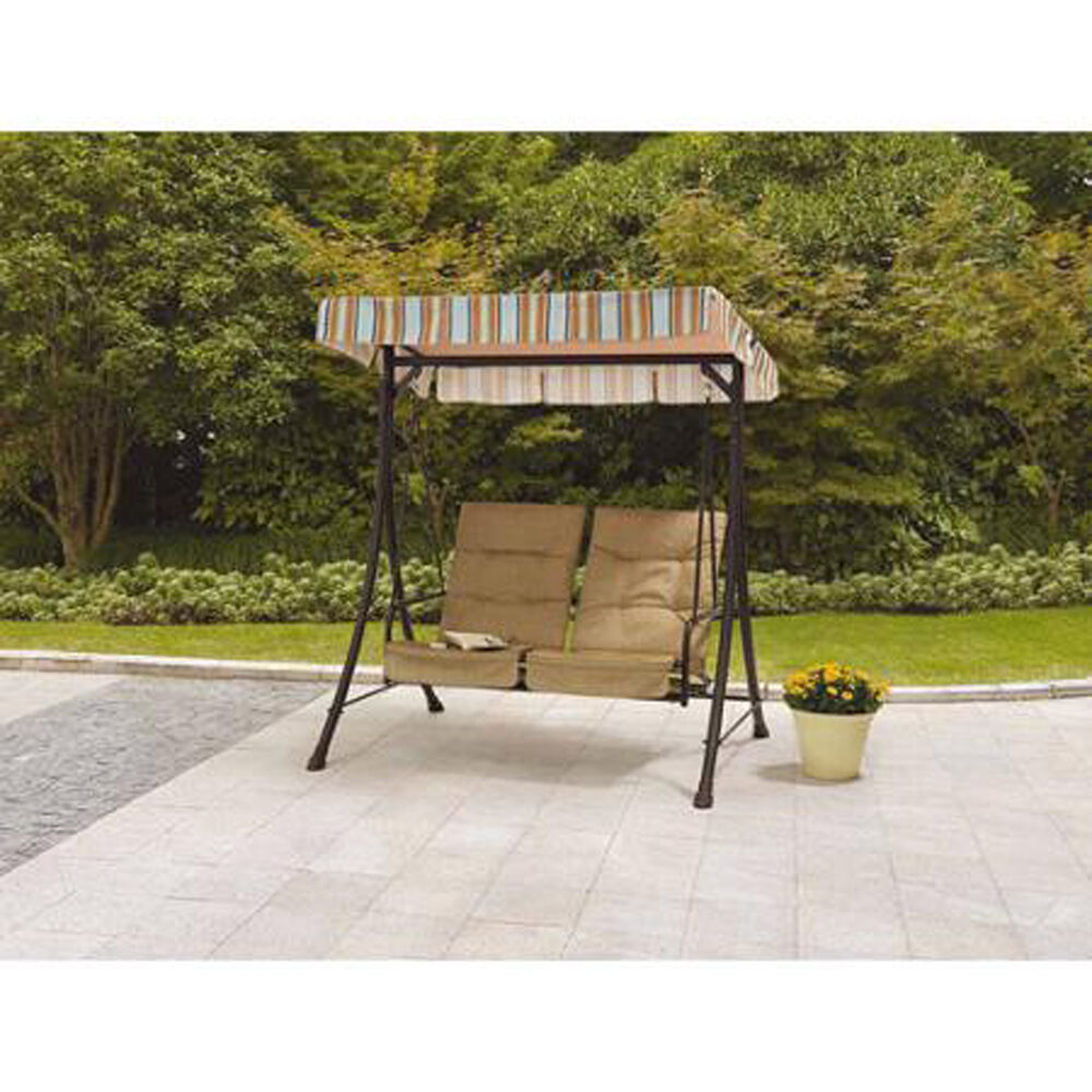 Outdoor Swing With Canopy Cover And Pullout Ottomans Tan