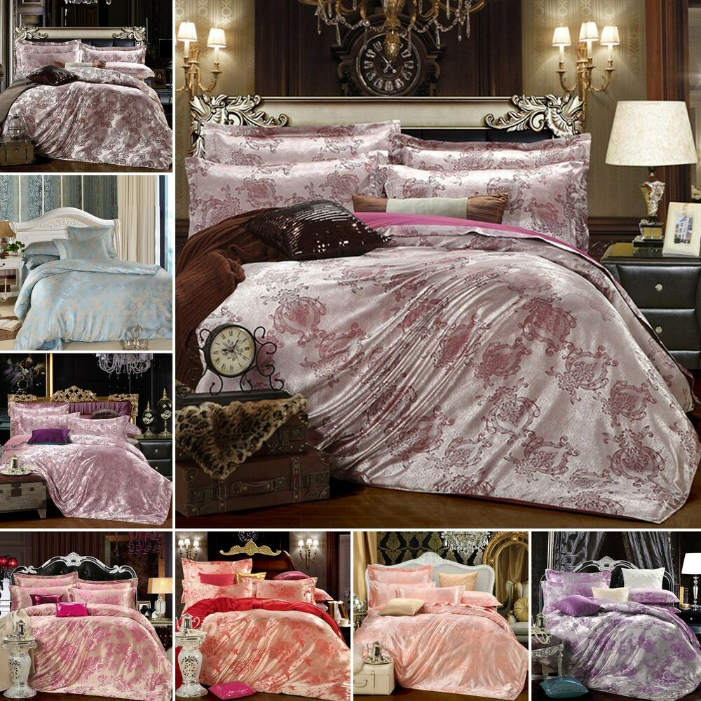 faux silk satin jacquard fabric duvet cover bedding set. Black Bedroom Furniture Sets. Home Design Ideas
