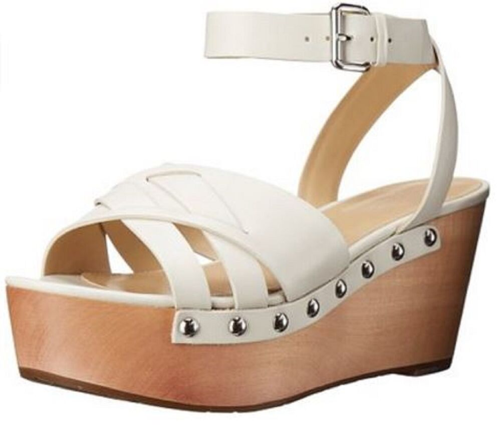 eea6235574 Women's Shoes Marc Fisher CAMILLA Crisscross Sandals Wooden Wedge Leather  WHITE | eBay