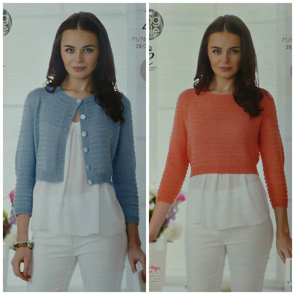 cb4df8ff7 Details about KNITTING PATTERN Ladies Easy Knit Cropped Jumper   Cardigan  Cotton 4ply 4497