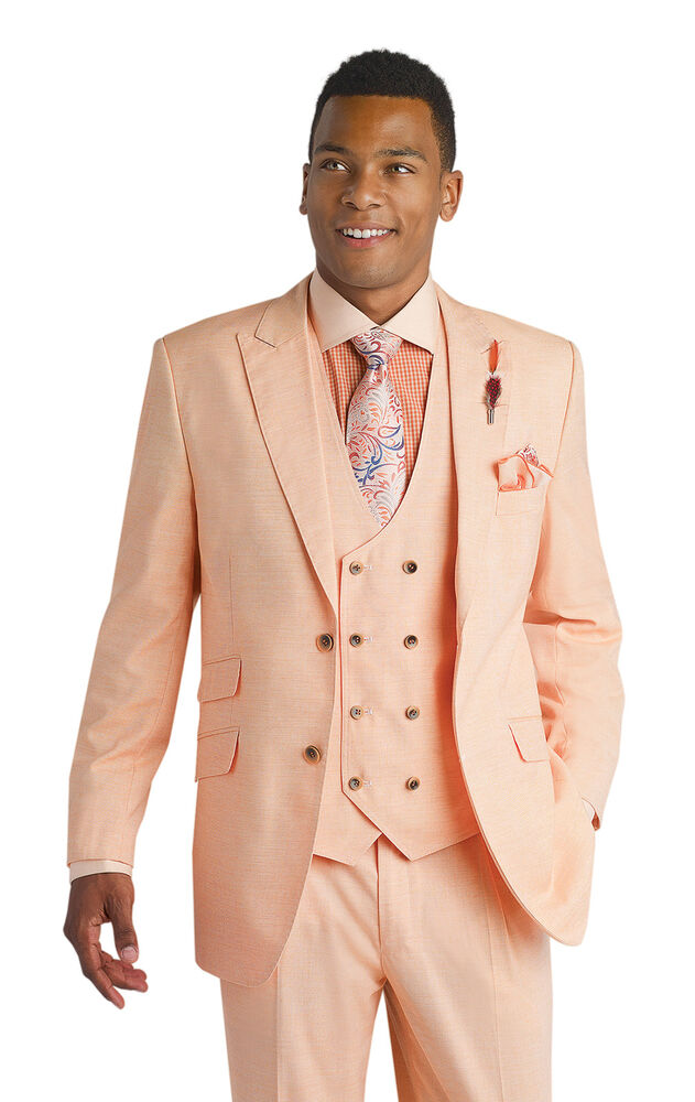 New 3 Piece Peach Pink Mens Fashion Vested Blazer Suit