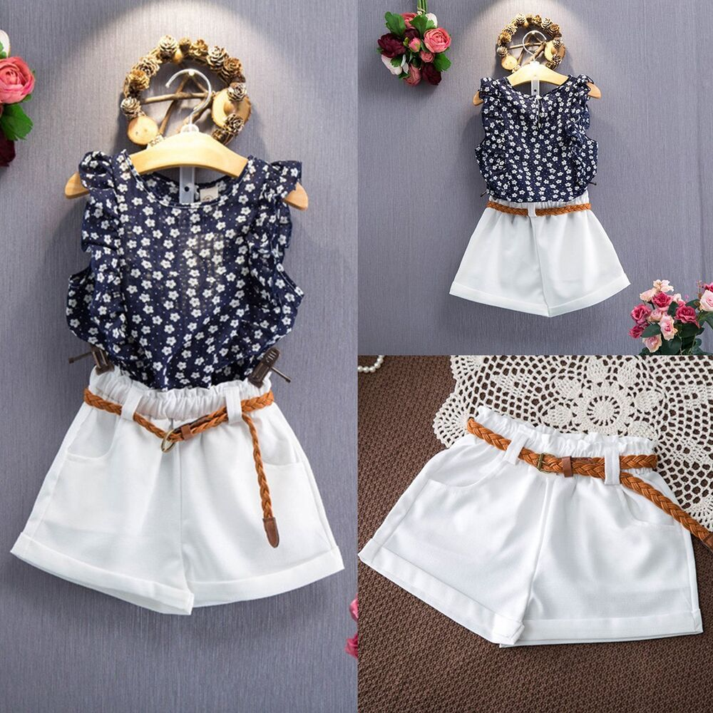 3PCS Toddler Kids Baby Girls Summer Outfit Clothes T-shirt ...