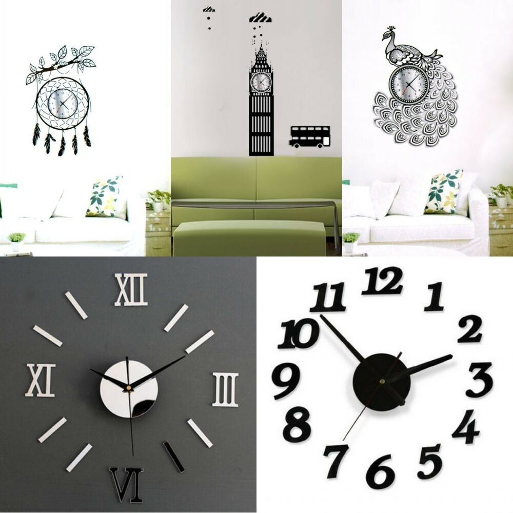 Modern Art Decor Wall Clock Sticker : D clock flower mirror surface vinyl wall art stickers