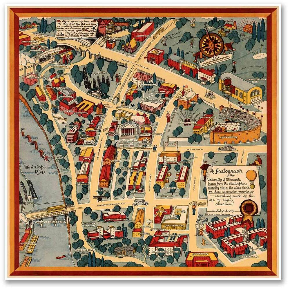 University Of Minnesota Campus Guide Map Golden Gophers Circa 1940