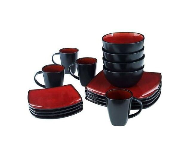 Square dinnerware set 16 piece dinner plates bowls cups for Kitchen dish sets