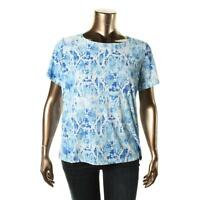 JM Collection 4990 Womens Jacquard Animal Print Pullover Top Shirt Plus BHFO