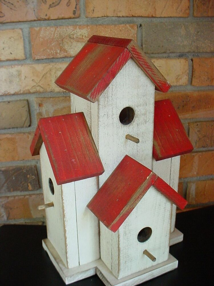 Wooden Small Condo Birdhouse For Wrens Chickadees 327 Red