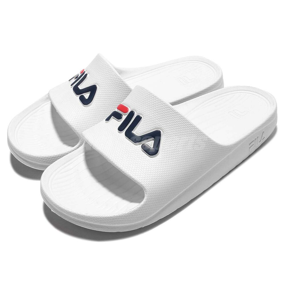 Fila S355Q Solid All White Navy Red Men Sport Sandal Slides Slippers 4-S355Q-113 | eBay