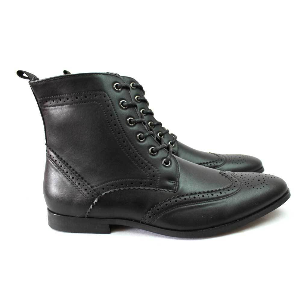 Men S Wing Tip Toe Black Brogue Dress Ankle Boots Lace Up