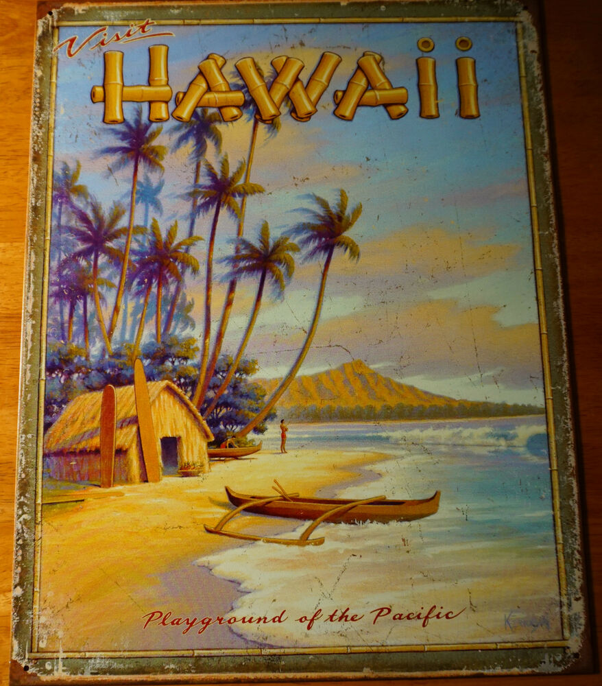 Retro vintage hawaii canoe diamond head palm tree beach for Vintage beach house designs