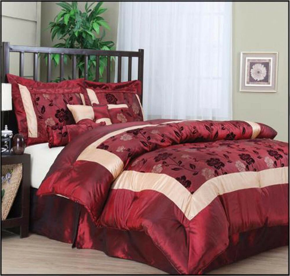 King Size Bedding Comforter Set 7 Piece Burgundy Luxury 2