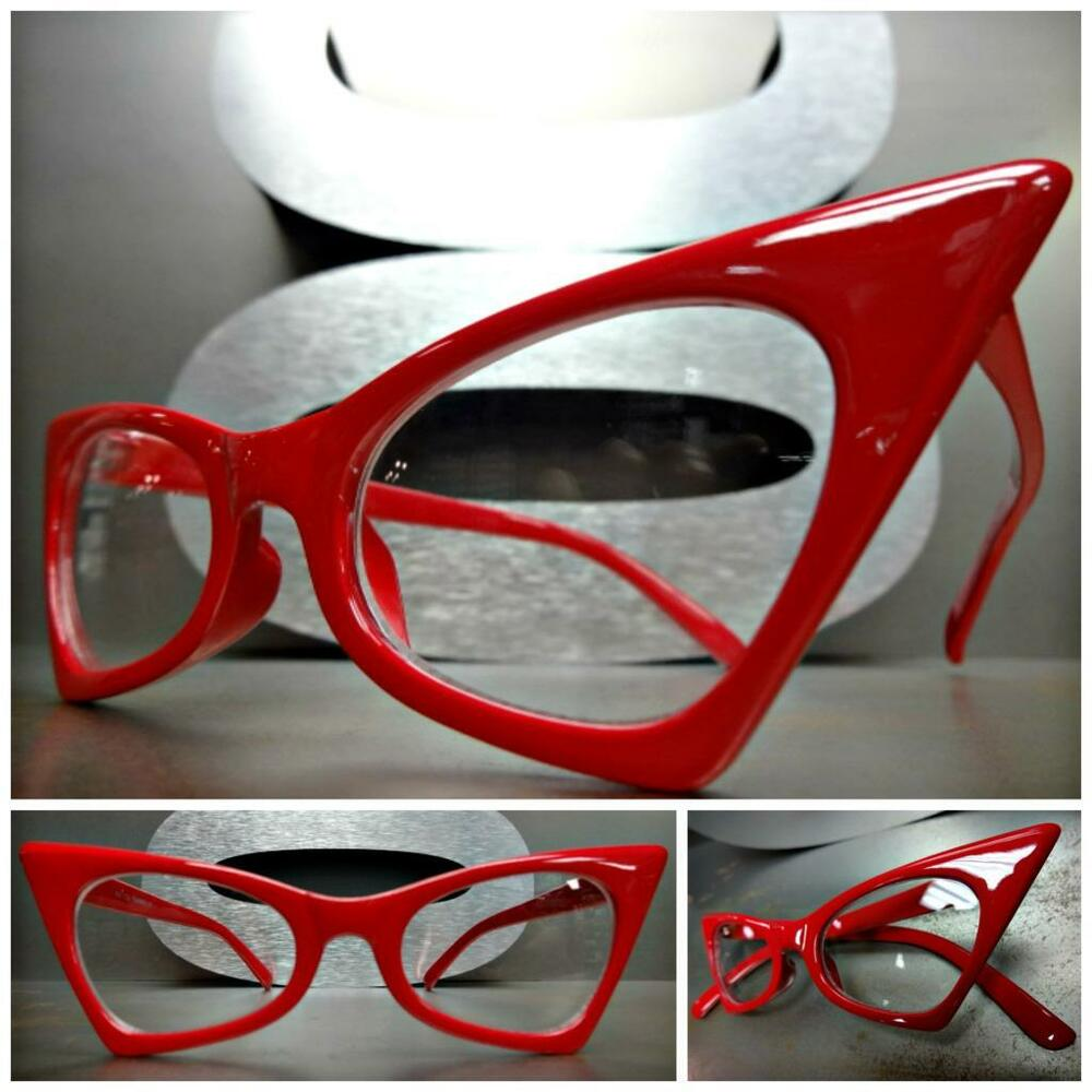 adedc7ac992 CLASSIC VINTAGE 50s RETRO CAT EYE Style Clear Lens EYE GLASSES Red Fashion  Frame