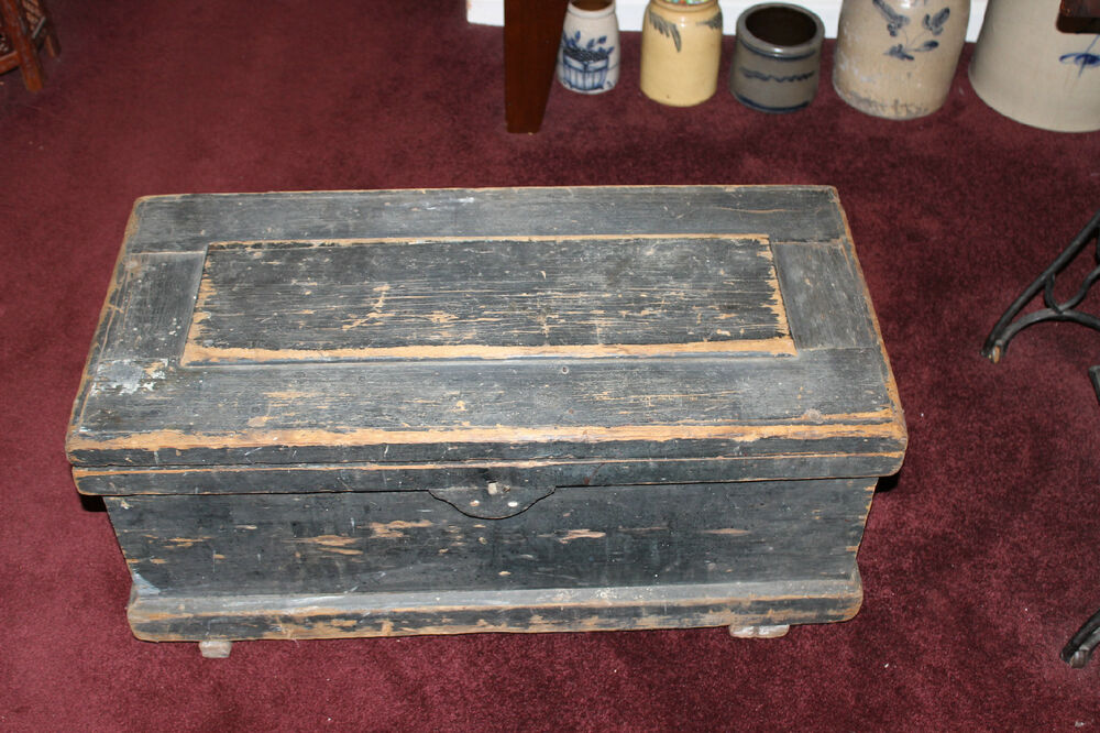 Antique carpenters wood tool storage trunk chest large