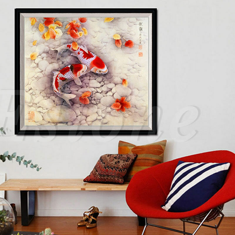 Diy 5d two fish embroidery diamond painting cross stitch for Home decor 5d