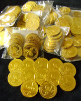 NEW 60 GOLD COINS PIRATES TREASURE FUN PARTY BAG TOY! 5 BAGS HB. S