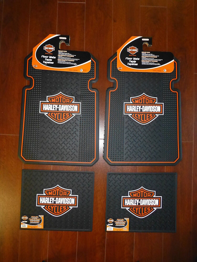 Harley Davidson Front And Rear Car Truck Rubber Floor Mats