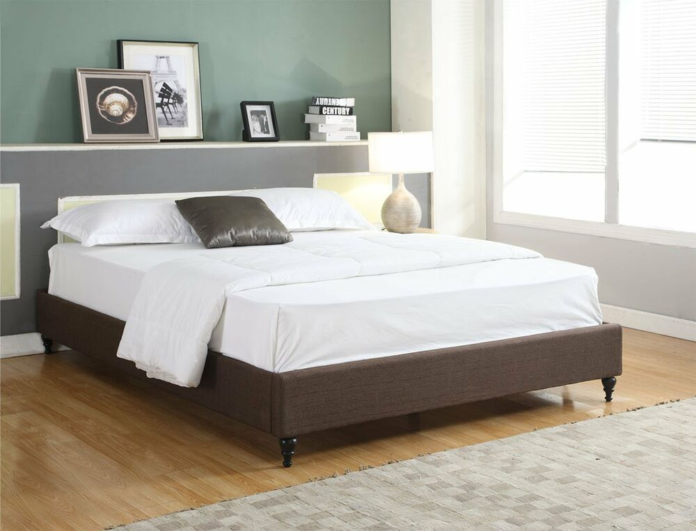 contemporary bed frames brown cloth fabric king size platform bed frame amp slats 11186