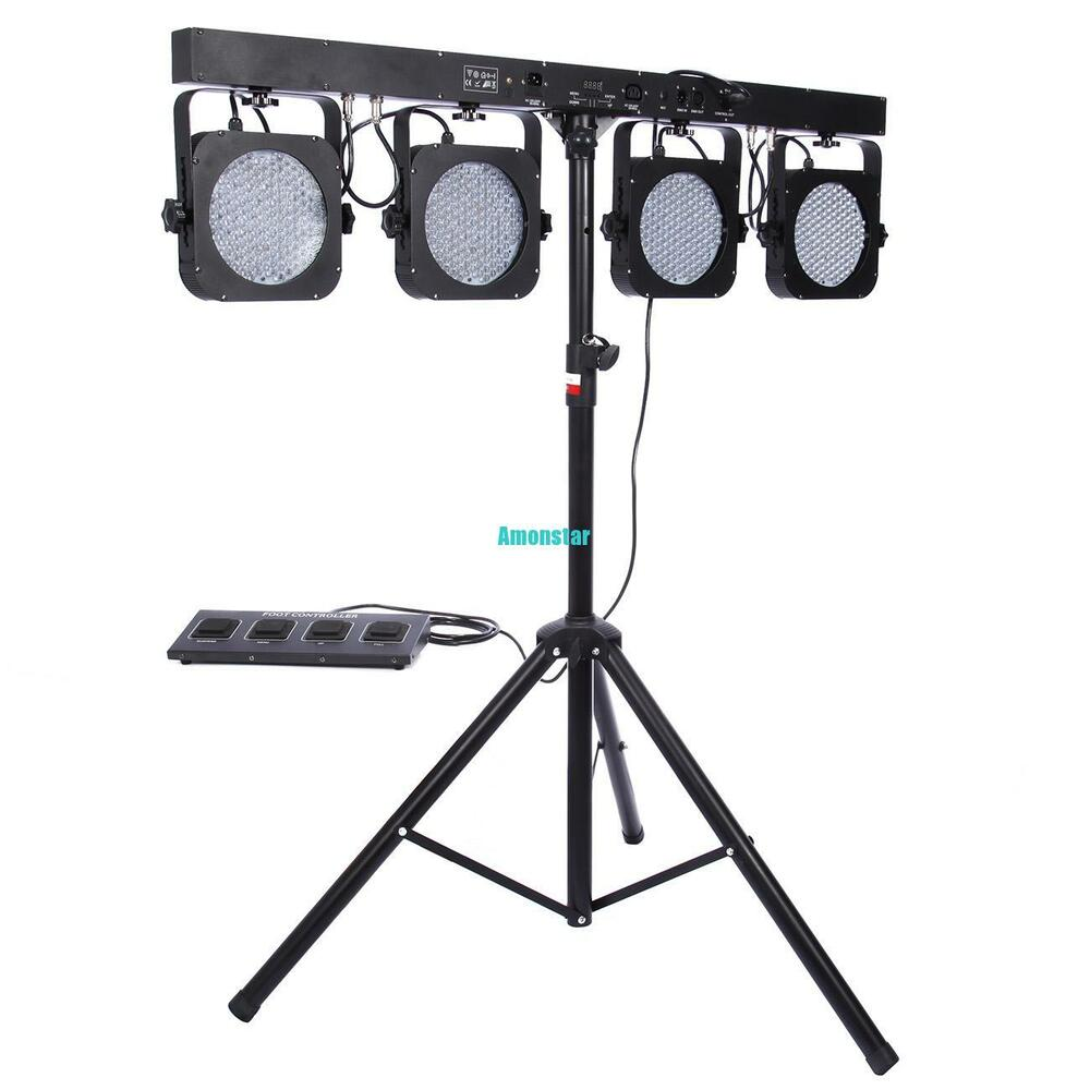 2X Mini 4BAR DMX LED RGB Par Stage DJ Bands BAR Pub Wash Tripod Lighting Syst