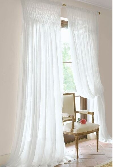 Shabby French Country Curtains Drapes 2 White Vintage
