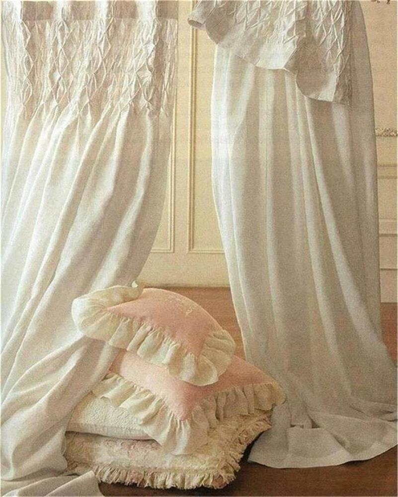 Shabby French Country Curtains Drapes 2 Ivory Vintage