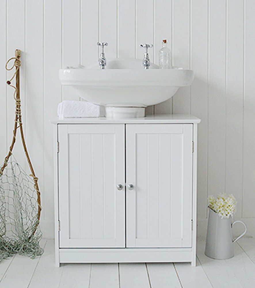White Under The Sink Cupboard, Space Saving Bathroom Floor Cabinet