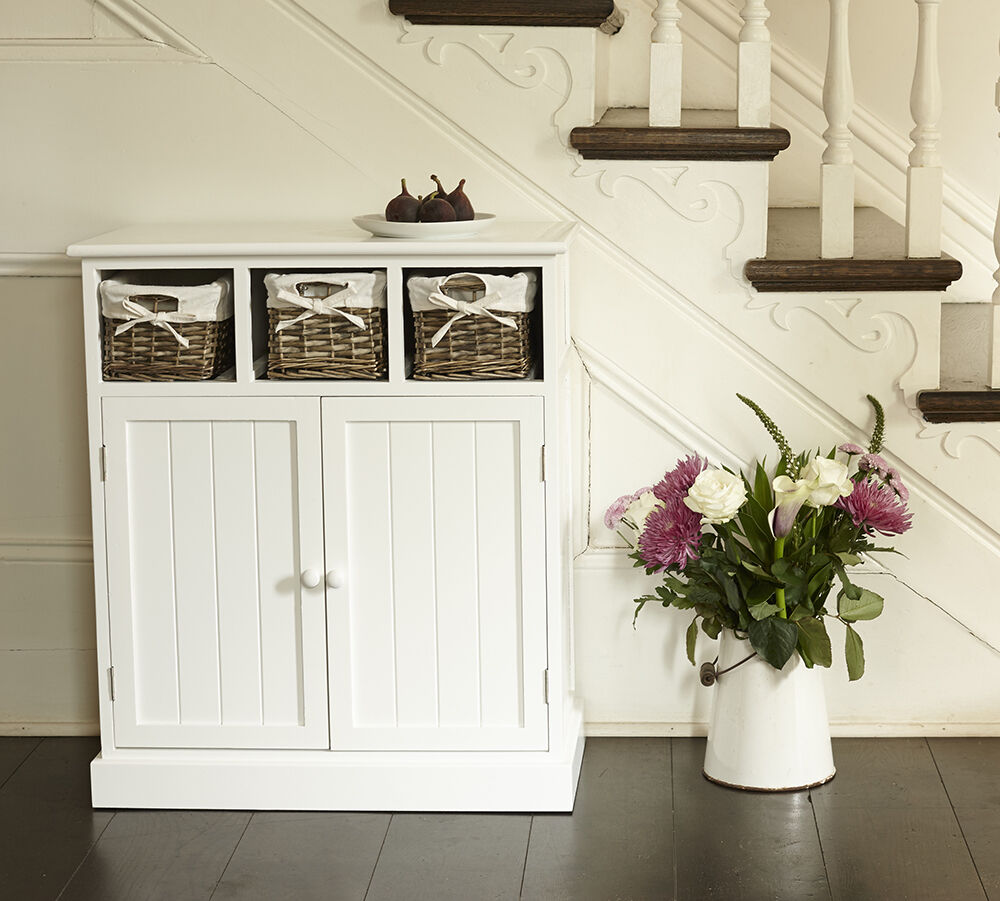 white sideboard shabby chic storage cupboard with grey baskets cabinet ebay. Black Bedroom Furniture Sets. Home Design Ideas