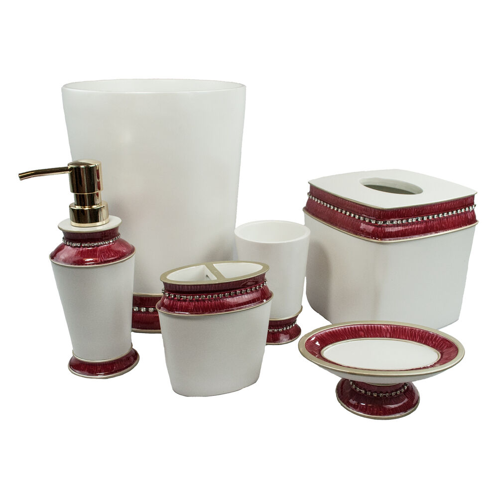 Sherry kline victoria jewel 6 piece bath accessory set 4 for Bathroom accessories set