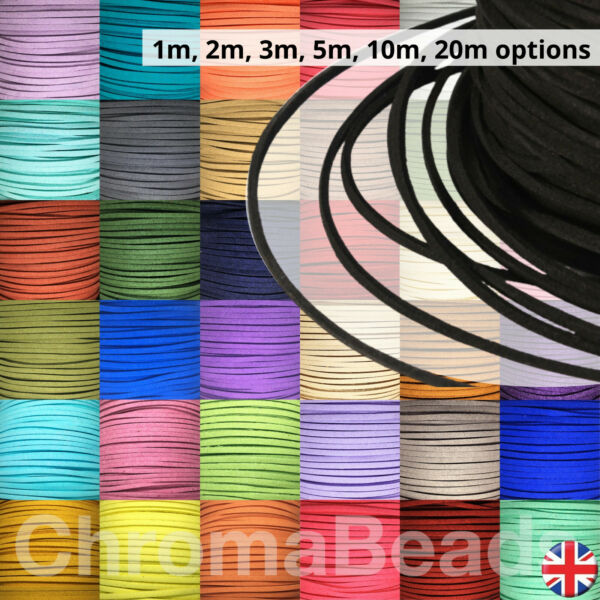 Faux Suede Leather Cord thong, 3mm x 1.5mm, choice of 55 colours, choose length