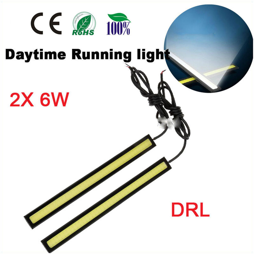paire 17 cm voiture auto led cob feux de jour drl lampe diurne 7w lumiere blanc ebay. Black Bedroom Furniture Sets. Home Design Ideas