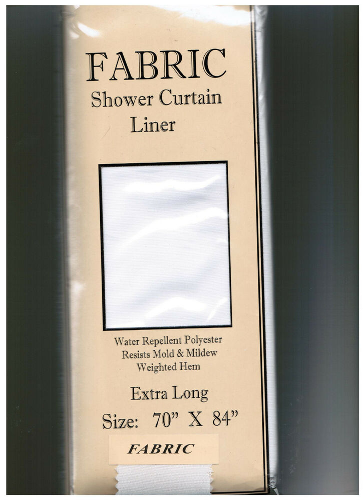 Extra Long Fabric Shower Curtain Liner Water Repellent Weighted Hem 70 X 84 Ebay
