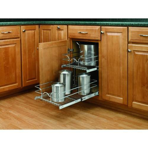 """Rev A Shelf 2 Tier Pull Out Base Cabinet Basket Drawer: Rev-A-Shelf 5WB2-1522 Chrome 5WB Series 15"""" Double Pull"""